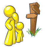 Design Mascot Crossroads. Parent and his child at a crossroads. A good concept in making choices as a parent Stock Images