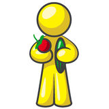 Design Mascot Holding Veggies Royalty Free Stock Images