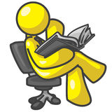 Design Mascot Leaning Reading Stock Image