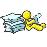 Design Mascot Reading Papers Stock Images