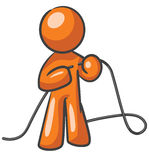 Design Mascot Tying up Loose ends. A design mascot fixing a cord, or tying up loose ends Stock Images