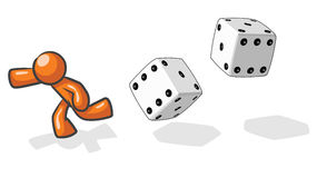 Design Mascot Victim of chance. A design mascot running from giant dice, based on the saying victim of chance Royalty Free Stock Photography