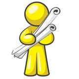Design Mascot Well Made Plans. Architect holding plans and looking cute in a professional way royalty free illustration