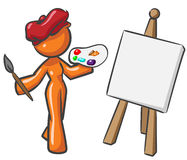 Design Mascot Woman Painter Stock Photos