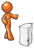 Design mascot Woman Papers Stock Image