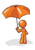 Design Mascot Woman Umbrella Stock Image