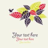 Design med flora och fågeln. Arkivfoto
