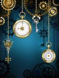 Design med klockor och kugghjul royaltyfri illustrationer
