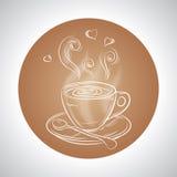 Design med koppen kaffe och ställe för text Royaltyfri Fotografi