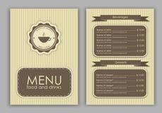 Design a menu for coffee stock illustration