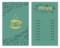 Design a menu for coffee. In hand drawing style. Vector illustration. Set Stock Illustration