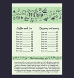 Design a menu for coffee. In hand drawing style. Vector illustration. Set Royalty Free Illustration