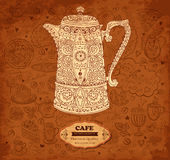 Design of menu with coffeepot Royalty Free Stock Photo