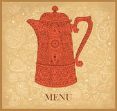 Design of menu with coffeepot. Elegance hand drawn illustration for design of menu with coffeepot Stock Photo