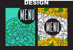 Design menu with doodle pizza. Sketch pizza Stock Photo