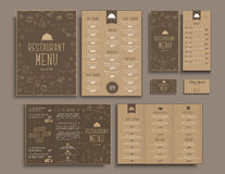 Design A4 menu,  retro folding brochures, flyers  for restaurant Royalty Free Stock Photos