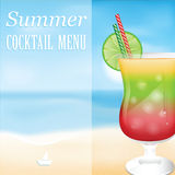 Design a menu for summer drinks Stock Image
