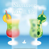 Design a menu for summer drinks Royalty Free Stock Photos