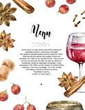 Design menu or wine list with glass of wine, grapes and spices. Design menu or wine list. Teplate is decorated with glass of wine, grapes and spices. Watercolor stock illustration