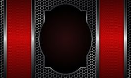 Design with a metal grille and a figured, oval frame. Design with a metal grille, curly, oval frame and red stripes on the sides Royalty Free Stock Image