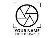 Photographer logo plain style stock illustration