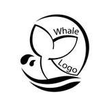 Design mit abstraktem Symbol des Wals und Meer bewegen wellenartig Auch im corel abgehobenen Betrag Stockbild