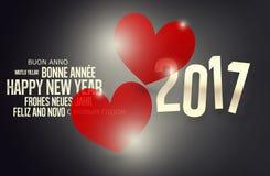 Design mit 2017 Herzen des neuen Jahres rotes Lizenzfreie Stockbilder