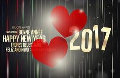 Design mit 2017 Herzen des neuen Jahres rotes Stockbild
