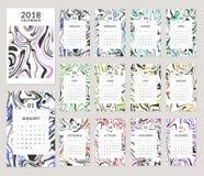 Design mit 2018 Kalendern Lizenzfreie Stockbilder
