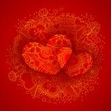 Design mit zwei Herzen für Valentinsgrußtag Stockfotos