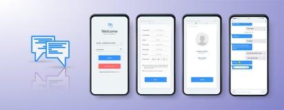 Design Mobile App login. UI, UX and GUI layout. Set of user registration screens, account sign in. stock illustration