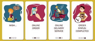 Design of mobile app to onboarding screens. Online order service, coffee delivery, order coffee in online coffee shop vector illustration