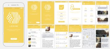 Design of mobile app, UI, UX, GUI. Set with a welcome window, registration, home page, news search, concept chat and settings royalty free illustration