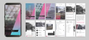 Design of mobile app, UI, UX, GUI. Set of user registration screens, account sign in, sign up, home page, news search, concept chat Messenger and settings royalty free illustration