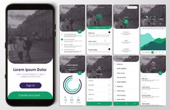 Design of the mobile application, UI, UX, GUI. Design of the mobile application, UI, UX. A set of GUI screens with login and password input, home page, news feed stock illustration