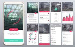 Design of the mobile application, UI, UX, GUI. Design of the mobile application, UI, UX. A set of GUI screens with login and password input, home page, news feed vector illustration