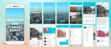 Design of mobile applications. UI, UX, GUI. Set with a welcome window, registration, home page, news search, chat and settings Stock Image