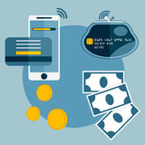 Design of mobile payment,credit card and electronic wallet Royalty Free Stock Photography
