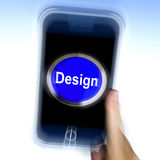 Design On Mobile Phone Shows Creative Artistic Designing. Design On Mobile Phone Showing Creative Artistic Designing Stock Images