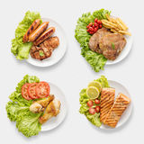 Design of mockup BBQ grilled sausages, chicken, salmon, pork cho Stock Photos