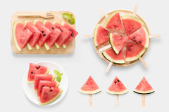 Design of mockup healthy watermelon and watermelon ice cream set royalty free stock image