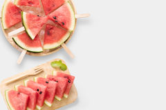 Design of mockup healthy watermelon and watermelon ice cream set royalty free stock photography
