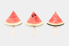 Design of mockup watermelon ice cream set isolated on white back stock photos