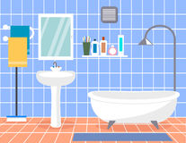 Design modern bathroom. Bathroom interior with in flat style. Royalty Free Stock Photo