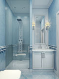 Design of modern blue bathroom. The combination of cold colors: white and blue. Shower mixer with modern upgraded with a glass door. 3D render Stock Photography