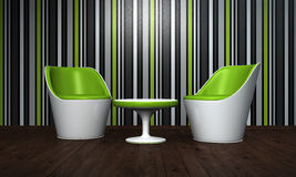 Modern chairs and table Stock Photo