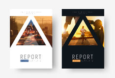 Design of modern flyers with triangles for photos. Royalty Free Stock Photos