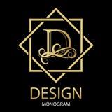 Design modern logo letter monogram for Business. Design modern logotype for Business. Vector logo letter D gold monogram on black background. For a furniture Royalty Free Stock Image