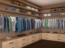 Design of a modern men`s wardrobe. 3d. Illustration vector illustration