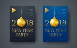 Design of a modern minimalist flyer for the New Year party. With gold balls and text. The design of the black and blue poster is standard size. vector vector illustration